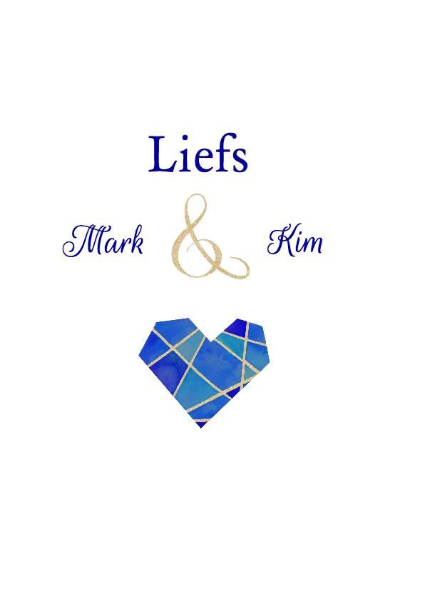 Bedankt trouwen blauw hart 3
