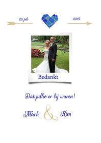 Trouwkaarten - Bedankt trouwen blauw hart