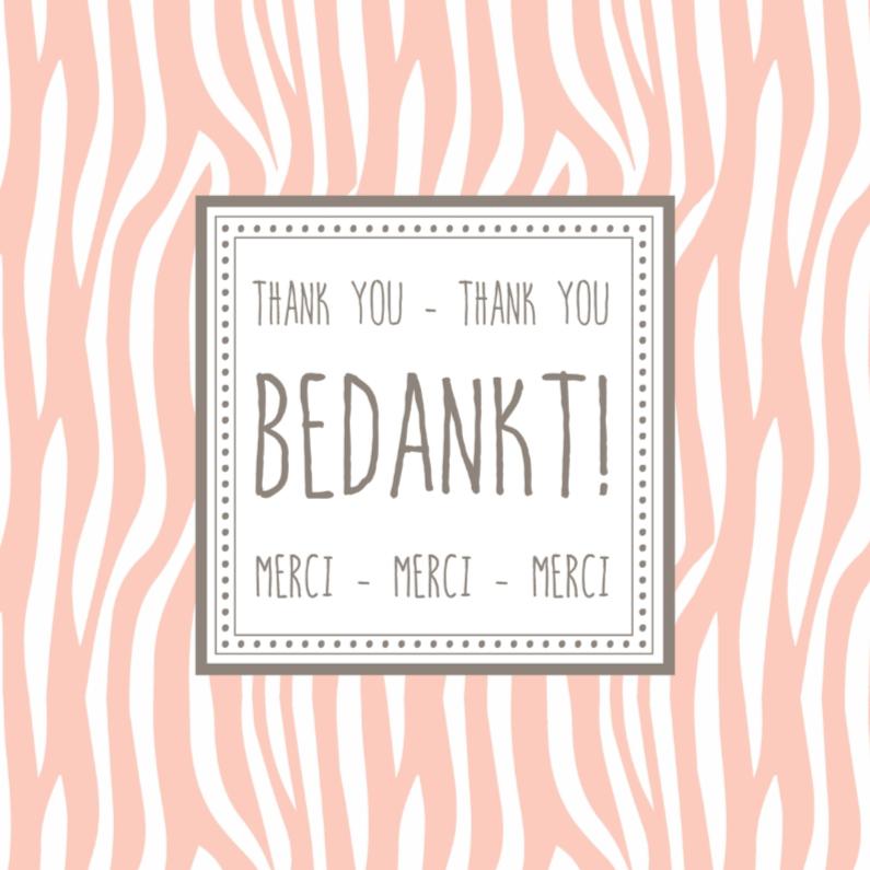 Zeer Bedanktkaartje Zebra Roze - WW - Bedankkaartjes - Kaartje2go @BH25