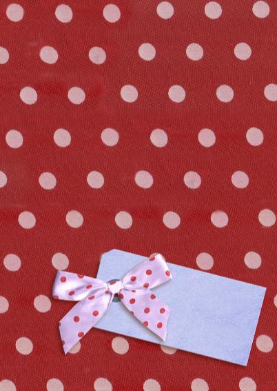 Beterschapskaart Pioenen met strikje op rood met stippen 3