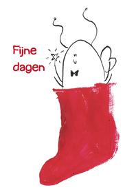 Kerstkaarten - Bij uit een sok
