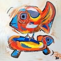 Blanco kunstkaart vogel en schildpad