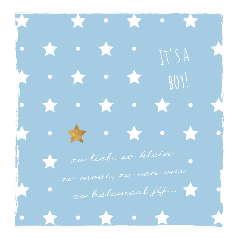 Blauw geboortekaartje sterren en kader 2