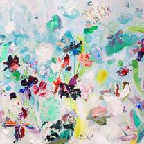 Bloemenkaarten - Bloemen schilderij Regen kleurig