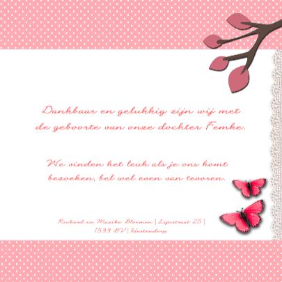 Bloemen vogel vlinders roze 3