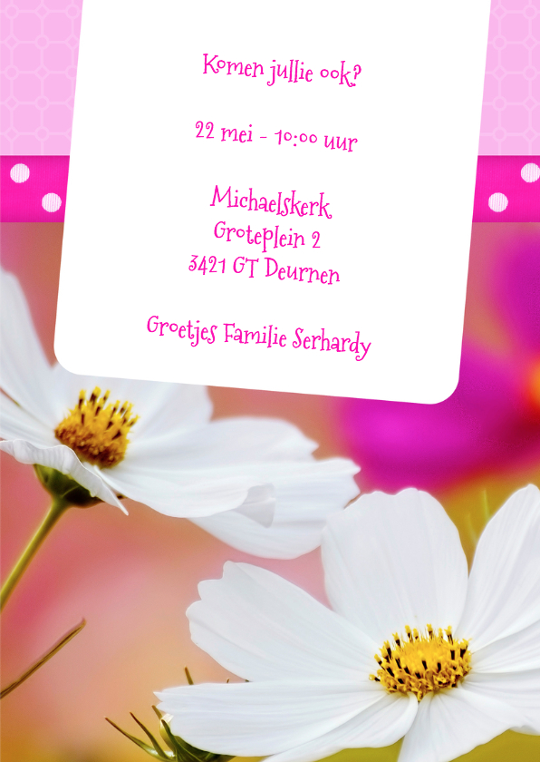 Bloemenkaart doop roze - BK 3