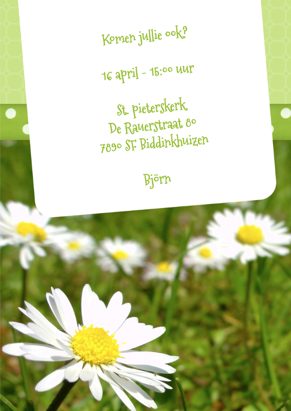 Bloemenkaart Madelief doop - BK 3