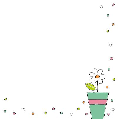 Bloemenkaart met witte bloem in een pot 3