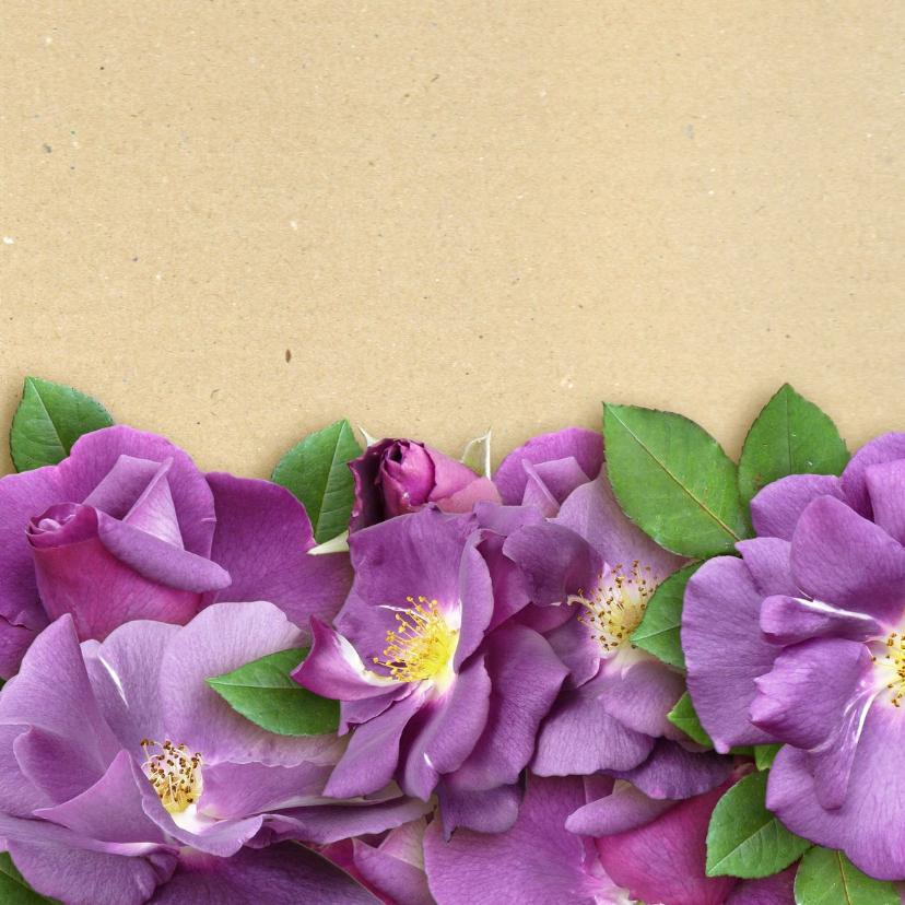 Bloemenkaart paarse rozen - HE 2
