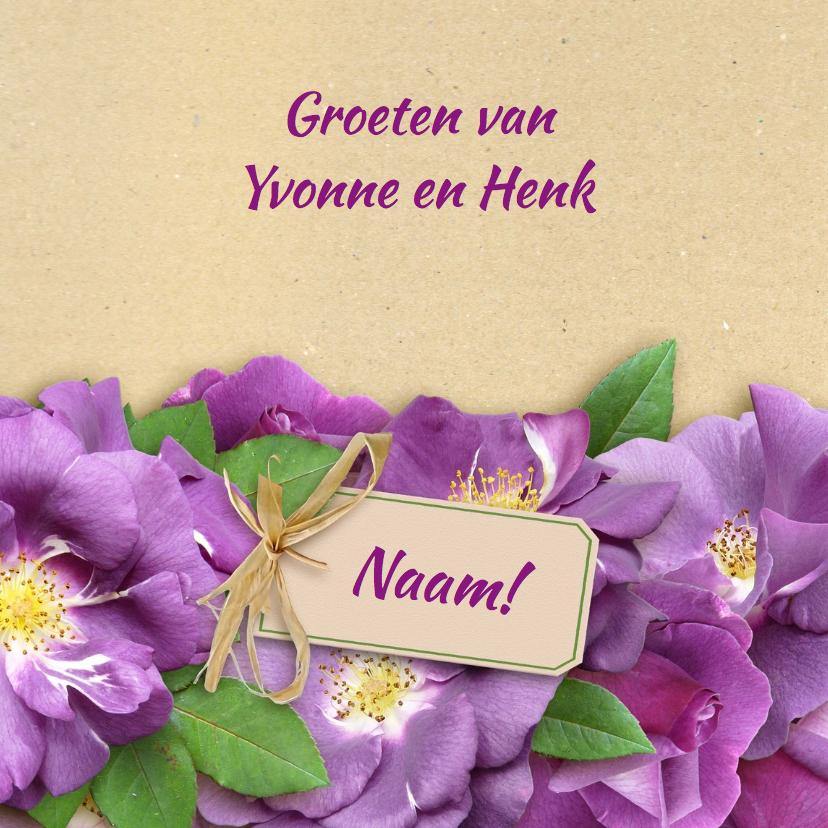 Bloemenkaart paarse rozen - HE 3