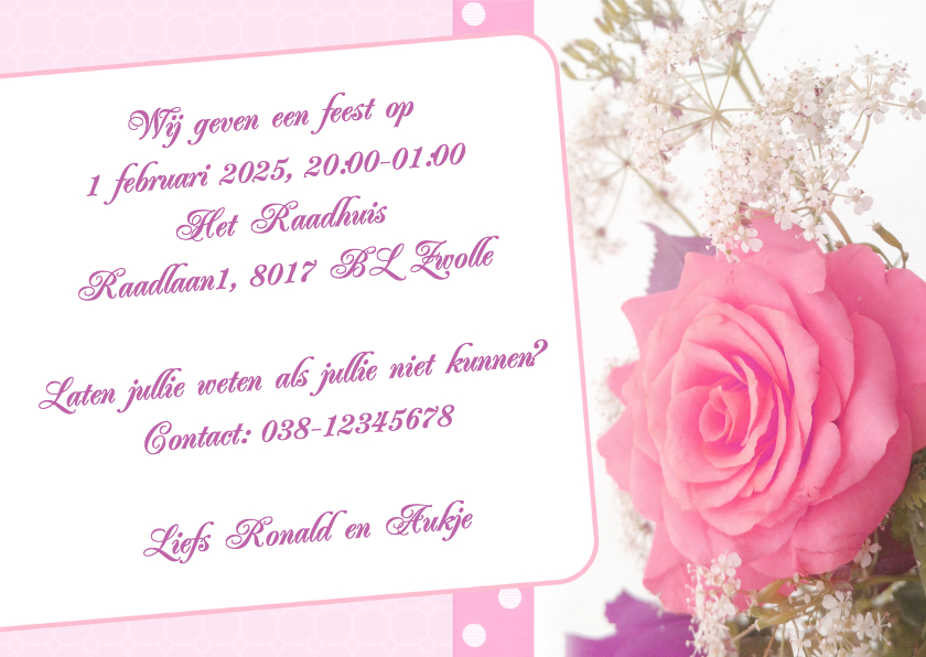 Bloemenkaart roos - BK 3