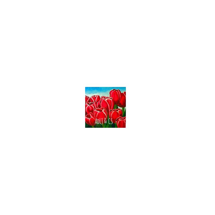 Bloemenkaart vrolijke rode tulpen 2