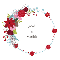 Trouwkaarten - Bloemenkrans Jacob Matilda - DH