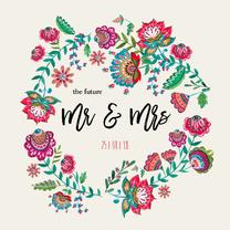 Trouwkaarten - Bohemian Bloemen Huwelijk