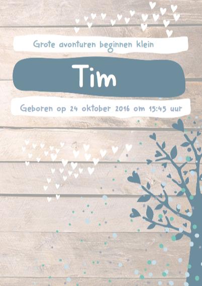 Boom confetti houtkaartje Tim 3