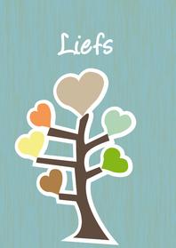 Liefde kaarten - Boom in natuurtinten met harten eraan