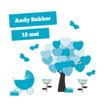 Geboortekaartjes - Boompje met blauwe kinderwagen