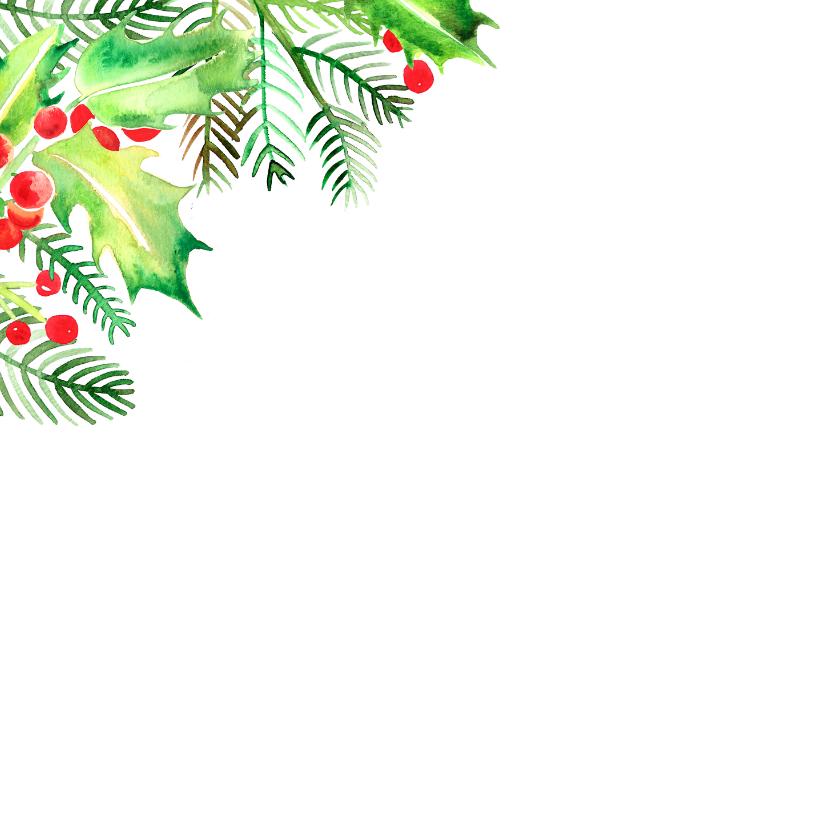 Botanische kerstkaart hulstblaadjes 2