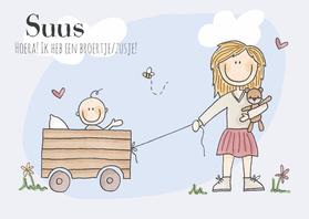 Geboortekaartjes - Broertje/zusje! Meisje Blond LFZ
