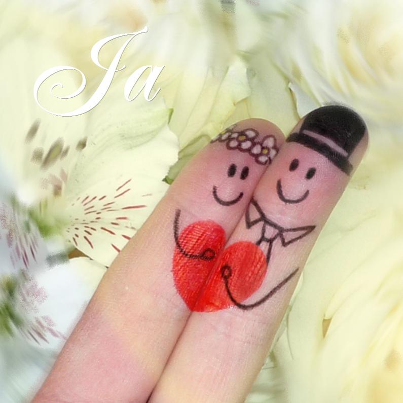 Citaten Voor Bruidspaar : Bruidspaar vingerpopjes trouwkaart rozen trouwkaarten