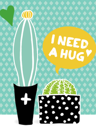"Vriendschap kaarten - Cactissimo ""I need a hug"""