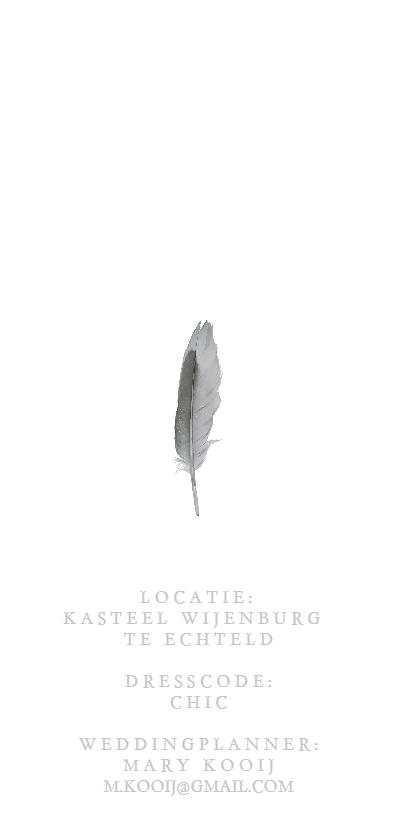Chique trouwkaart | feather achterkant