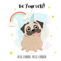 "Coachingskaarten - ""Coachingskaartje pug being a unicorn - SD"""