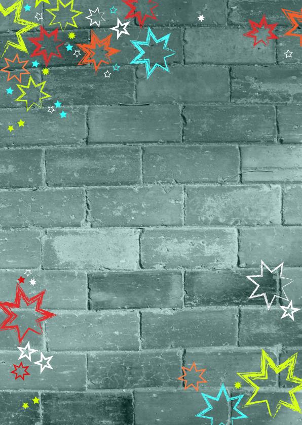 Communie bedank kaart stoer met een muur en sterren 2
