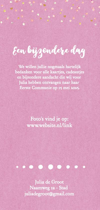 Communie bedankkaart langwerpig roze achterkant