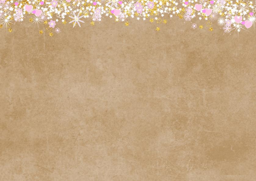 Communie fleurige stijlvolle bedankkaart kraft en hartjes 2