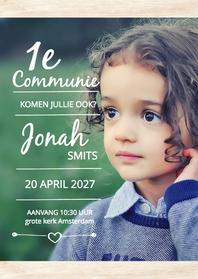 Communiekaarten - Communie grote foto Jonah - DH