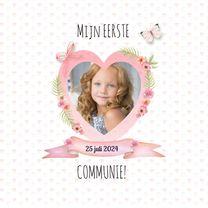 Communiekaarten - Communie meisje hart