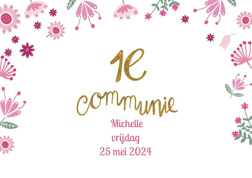 Communie meisje roze hart 2