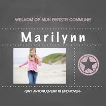 Communiekaarten - Communie meisje roze ster