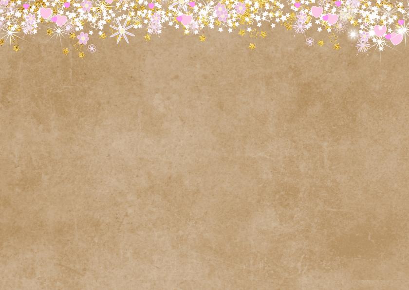 Communie stijlvolle uitnodiging hartjes bloemen sterren 2