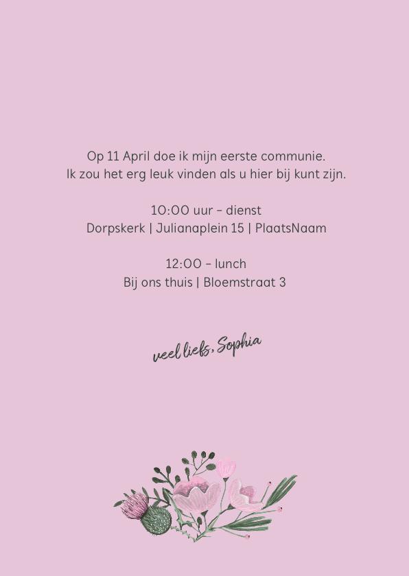 Communie uitnodiging wild bloemen bouquet 3