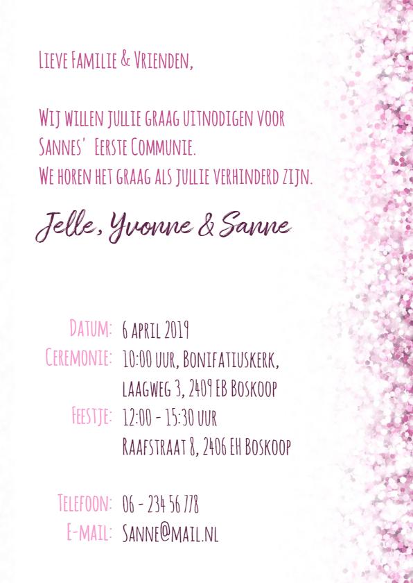 Communie vormsel lentefeest roze glitter krijtbord 3