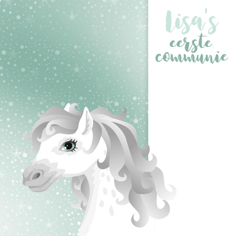 Communie wit schimmel paard blauw 2