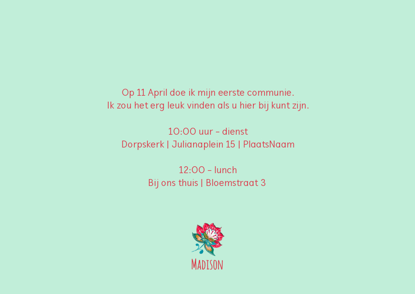Communiekaart bloemen hip 3