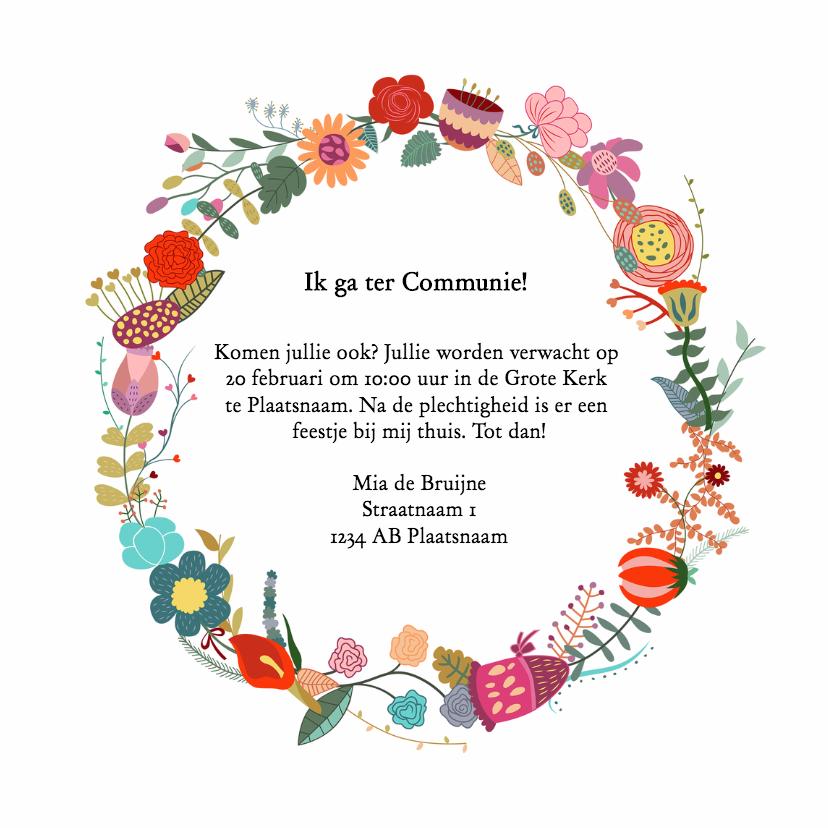 Communiekaart bloemenkrans - DH 3