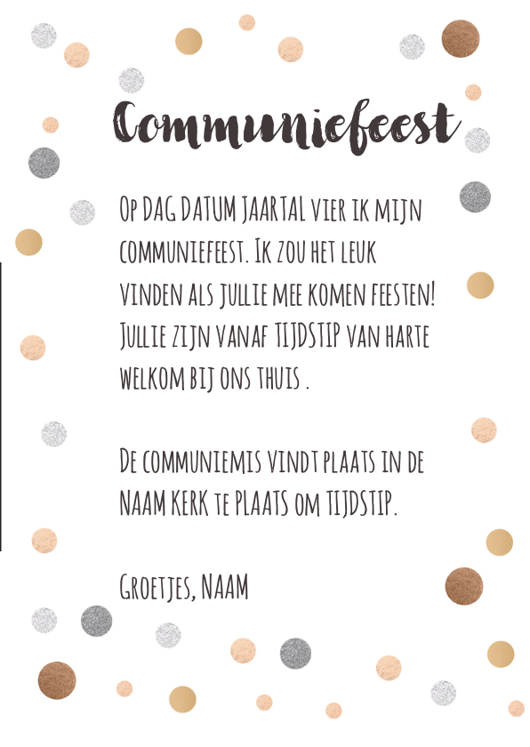 Communiekaart feest confetti 3