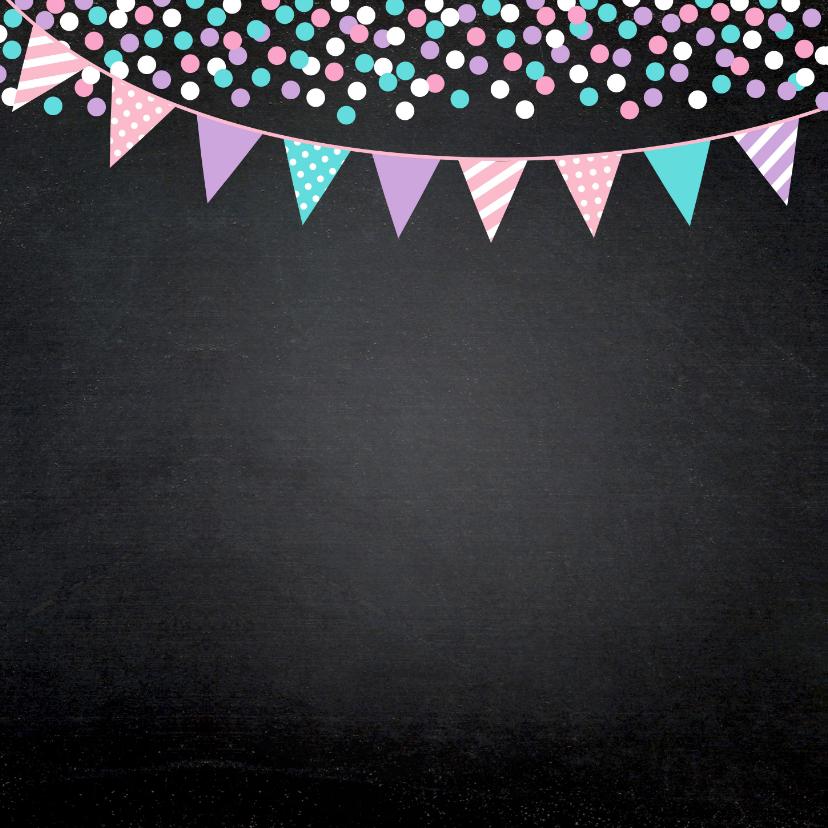 Communiekaart foto meisje confetti slinger 2