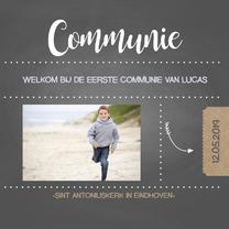 Communiekaarten - Communiekaart krijt foto jongen