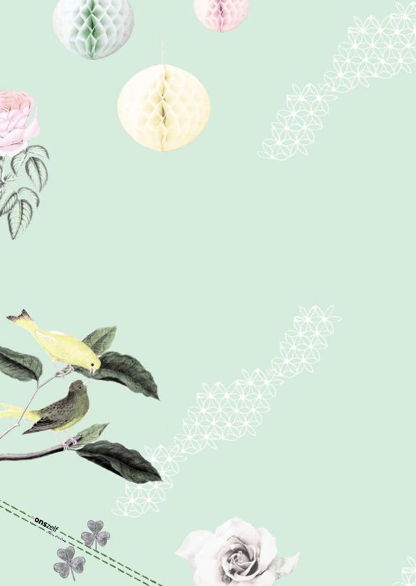 Communiekaart met lieve vogeltjes, bloemen en pompoms 2