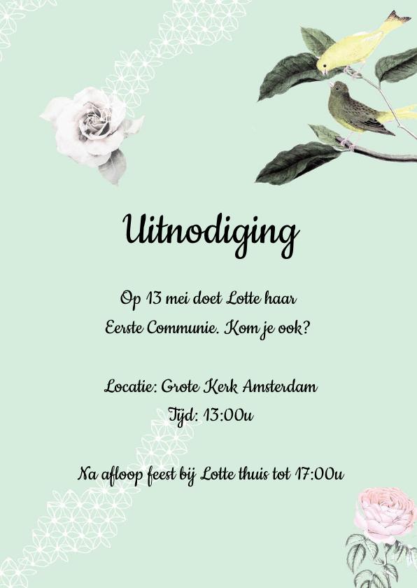 Communiekaart met lieve vogeltjes, bloemen en pompoms 3