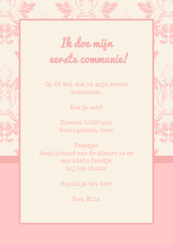 Communiekaart roze Label Stempel 3