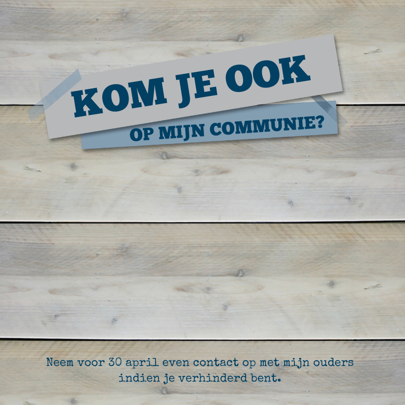 Communiekaart steigerhout blauw 2