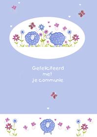 Felicitatiekaarten - communiekaartje schaapjes