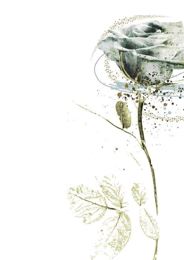 Condoleancekaart sterkte witte roos 2