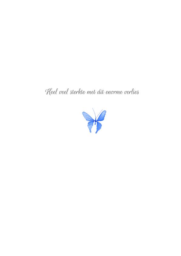 Condoleancekaart vaarwel kleine vlinder blauw 3
